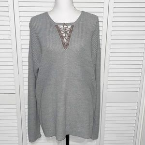 89th & Madison Size Large Lace Up Ribbed Sweater